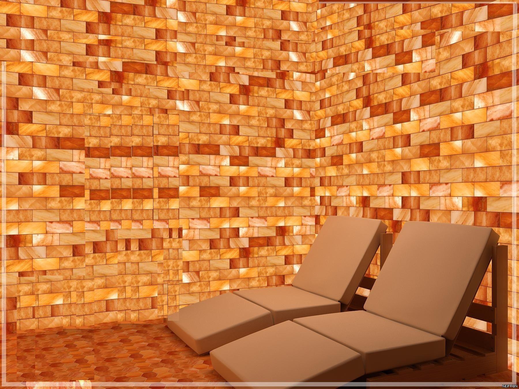 Соляная пещера, типовая стена из соляных кирпичей